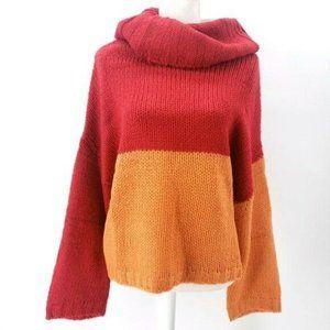 PEPALOVES Colorblock Sweater Turtleneck Red Orange
